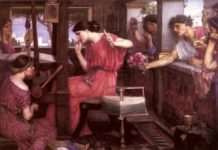 Penelope and her suitors Waterhouse