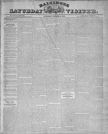 Pagina del Baltimore con la prima pubblicazione del racconto