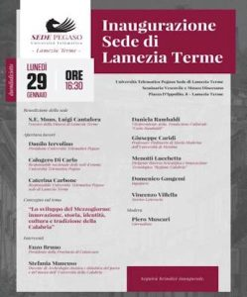 Lunedì 29 gennaio 2018 l'inaugurazione della sede Pegaso di Lamezia Terme