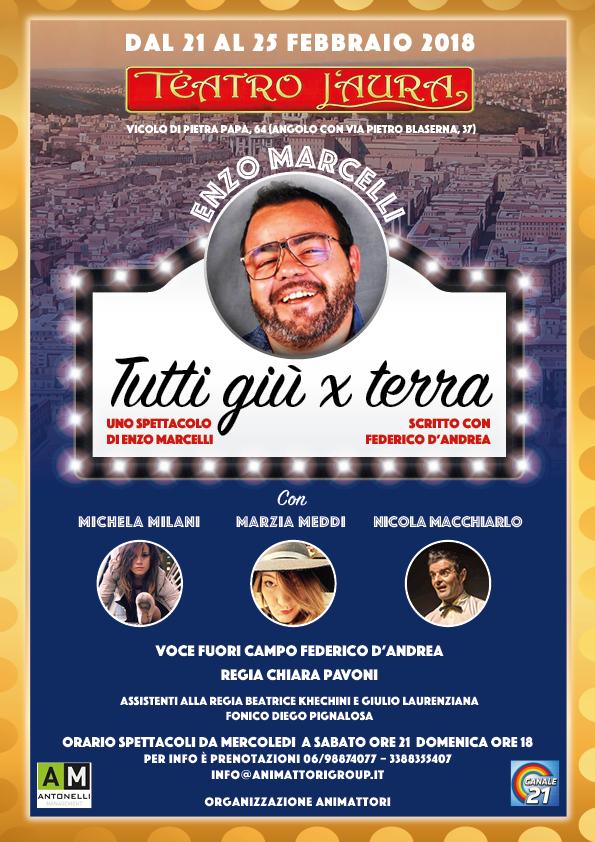 TUTTI GIU' PER TERRA al Teatro L'Aura dal 21 al 25 febbraio 2018