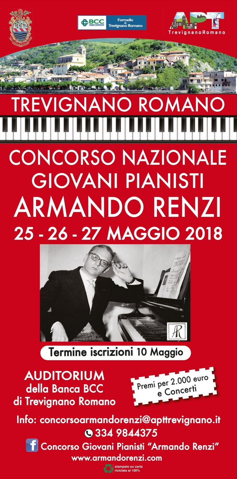 """Concorso per Giovani Pianisti """"Armando Renzi""""  2018 a Trevignano Romano"""