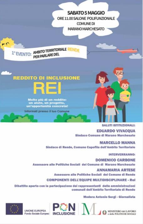 Rei – Rende Comune capofila dell'ambito territoriale   Sabato 5 maggio primo incontro a Marano Marchesato