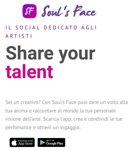 Soul's Face l'app dedicata agli artisti che vogliono condividere le performance e ottenere ingaggi