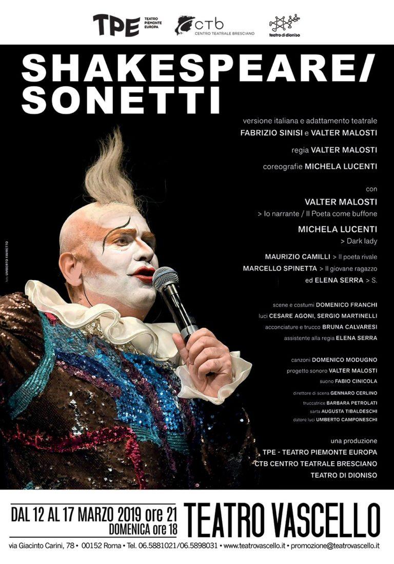 SHAKESPEARE/SONETTI, adattamento teatrale di Fabrizio Sinisi e Valter Malosti, al Teatro Vascello dal 12 al 17 marzo 2019