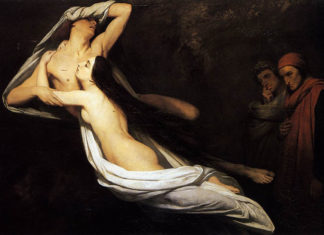 Ary Scheffer - The Ghosts of Paolo and Francesca Appear to Dante and Virgil 1835