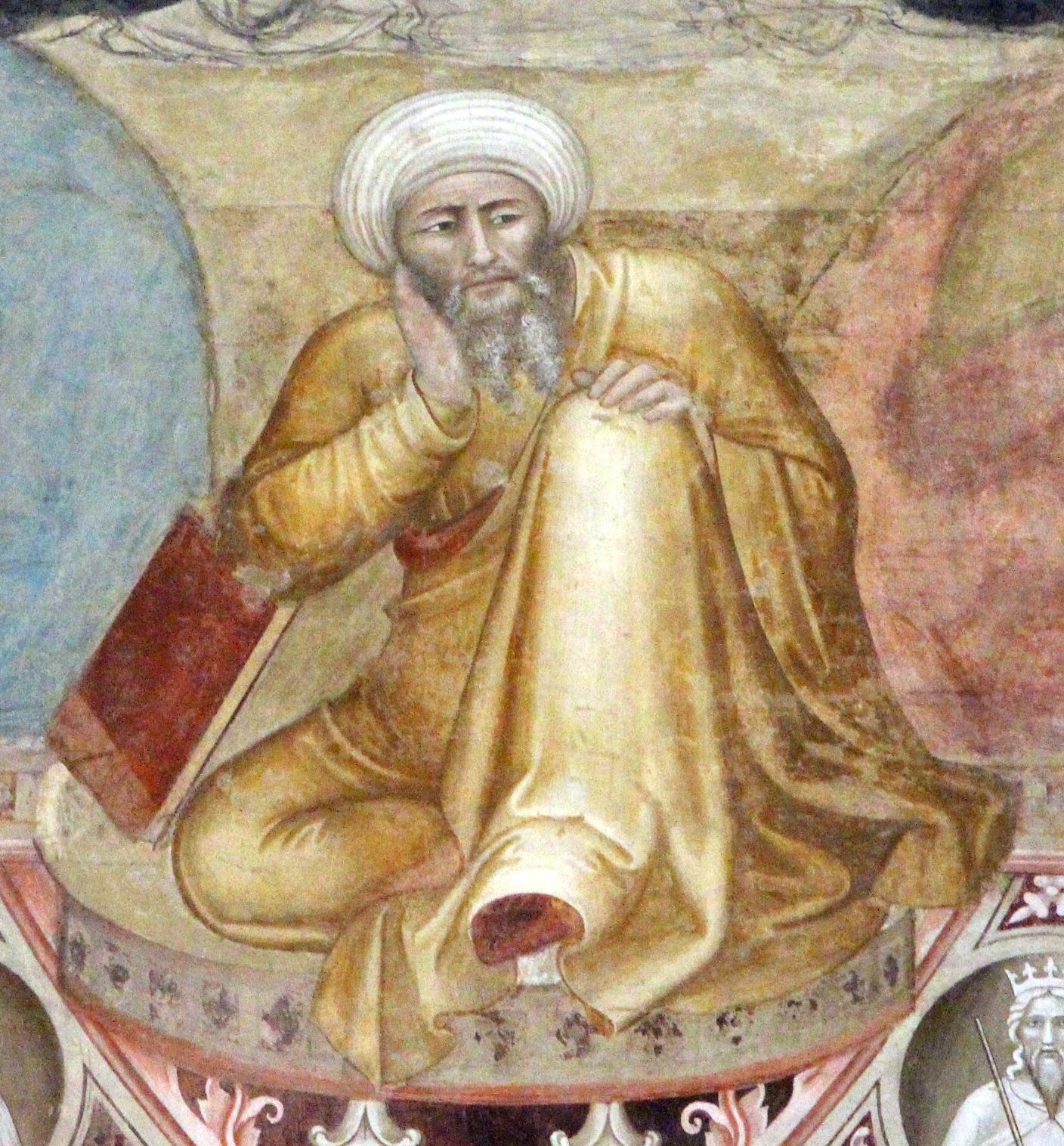 Averroè, part. del Trionfo di San Tommaso di Andrea di Bonaiuto. Cappellone degli Spagnoli di Santa Maria Novella, Firenze
