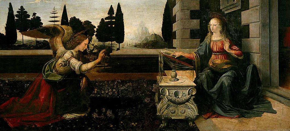 Leonardo da Vinci, Andrea del Verrocchio, Annunciazione, 1472-1475 Galleria degli Uffizi di Firenze.